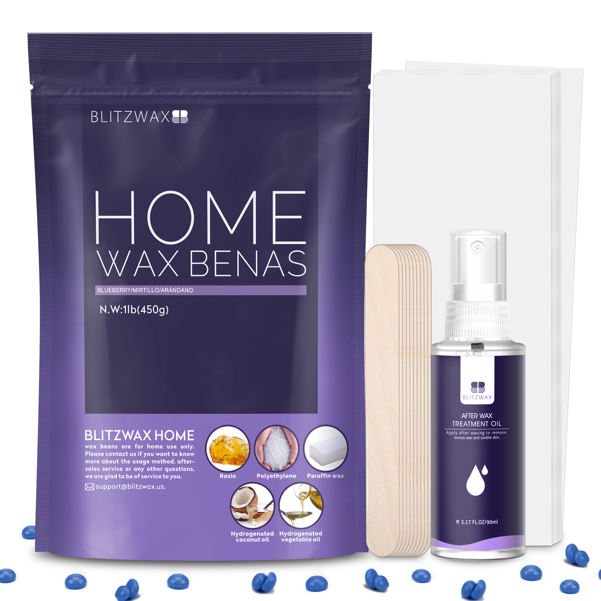 Blitzwax Hard Wax Beads Kit Coarse Hair Removal Wax With Wax